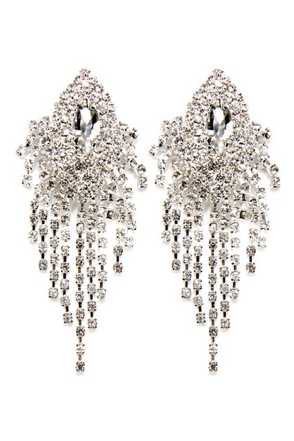 Rhinestone Tassel Clip On Earrings - orangeshine.com