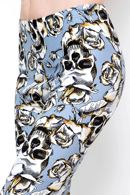 SKULL PRINT BRUSHED FULL LEGGINGS - orangeshine.com