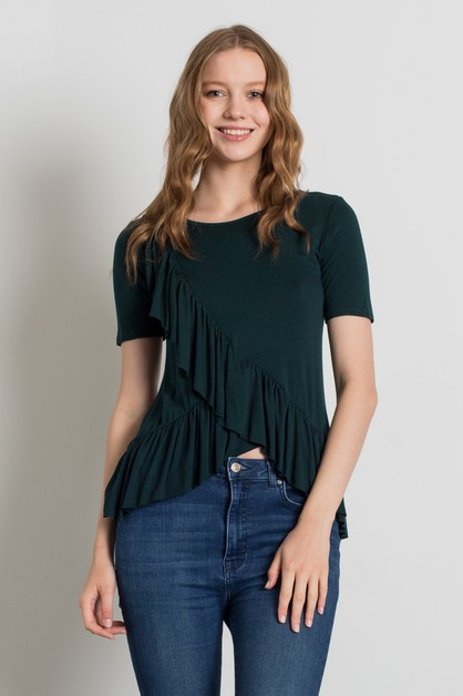 Knit Asymmetric Ruffled Top - orangeshine.com
