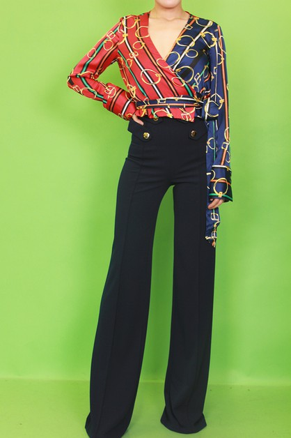 COLOR BLOCK PRINT OVERLAP BLOUSE - orangeshine.com