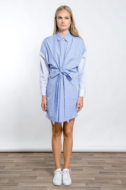 CONTRAST STRIPE BELTED SHIRT DRESS - orangeshine.com