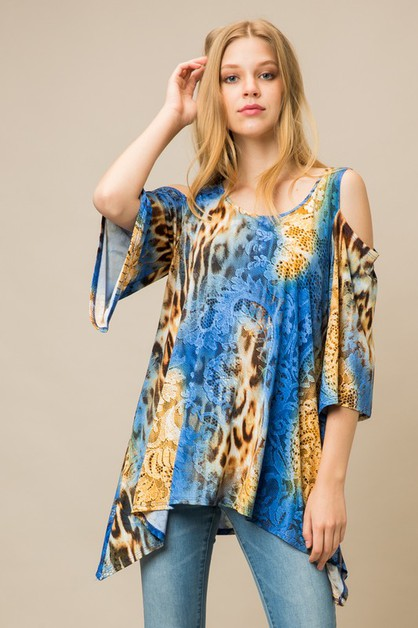 Animal Snake Print Cold Shoulder Top - orangeshine.com