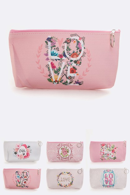 LOVE Printed Makeup Pouch Set - orangeshine.com