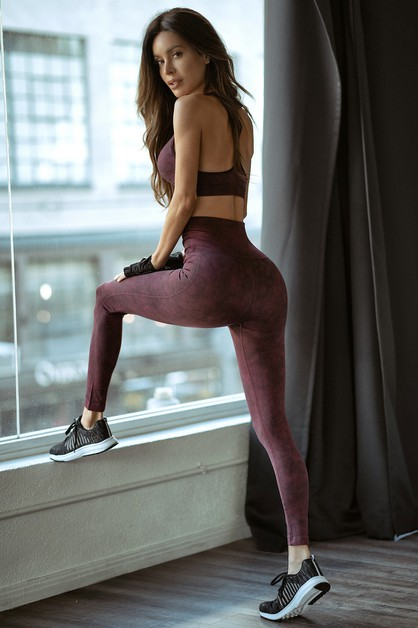 High Waist Acid Wash Workout Legging - orangeshine.com