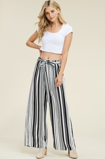 Stripes On Stripe Tie Waist Palazzo  - orangeshine.com