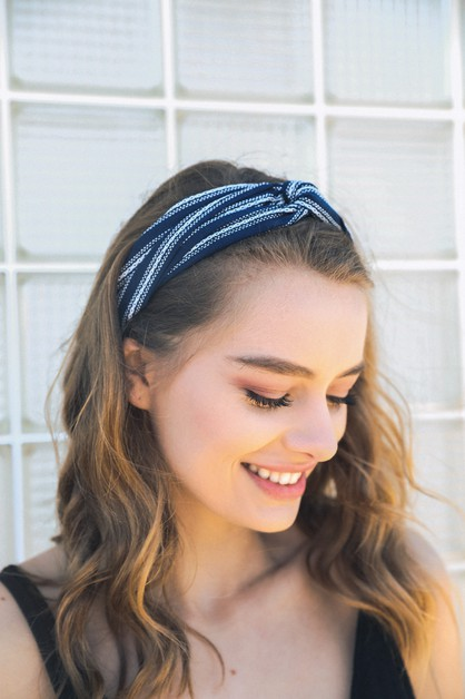 Striped Twist Headband - orangeshine.com