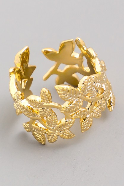 Wide Vine Leaf Ring - orangeshine.com