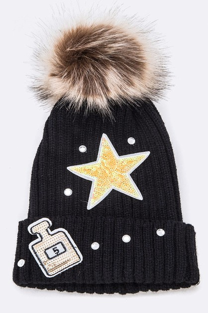 Mix Patches Iconic Fur Pom Beanie - orangeshine.com