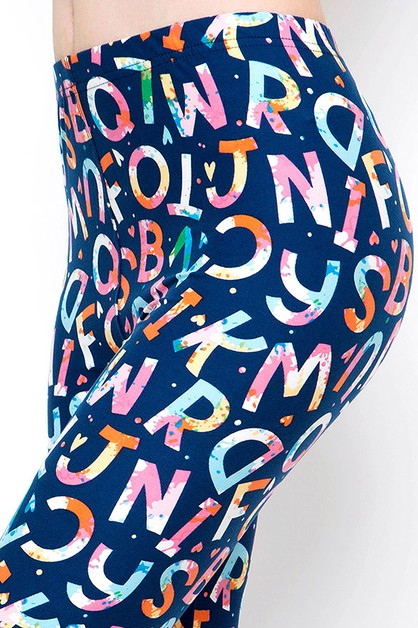 ABCD ALPHABET PRINT BRUSHED FULL LEG - orangeshine.com