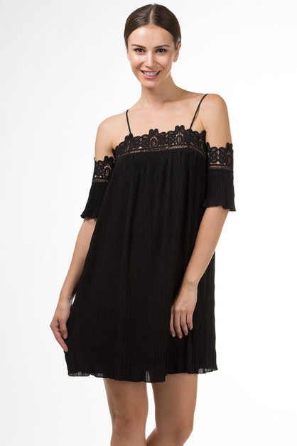 OFF SHOULDER DRESS WITH LACE TRIM - orangeshine.com
