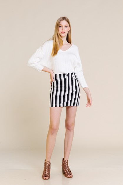 COTTON STRETCH STRIPE MINI SKIRT - orangeshine.com