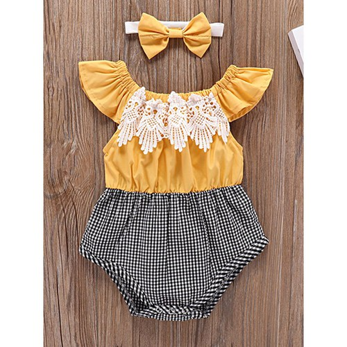 Lace Romper with Headband - orangeshine.com