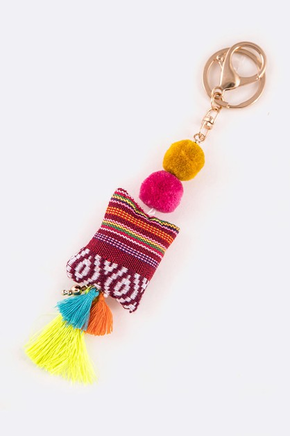 Mix Pom and Tassel Boho Key Chain - orangeshine.com