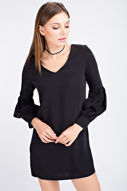 FULL SLEEVE V NECK SHIFT DRESS - orangeshine.com