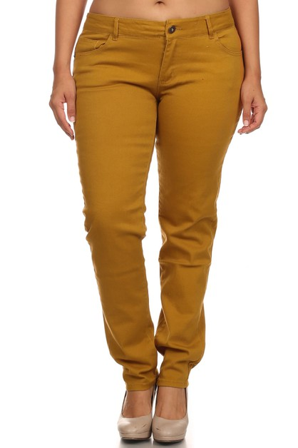 SOLID COLOR TWILL COLORED PANTS - orangeshine.com
