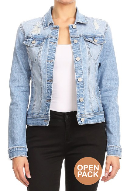 Fitted Distressed Denim Jackets - orangeshine.com