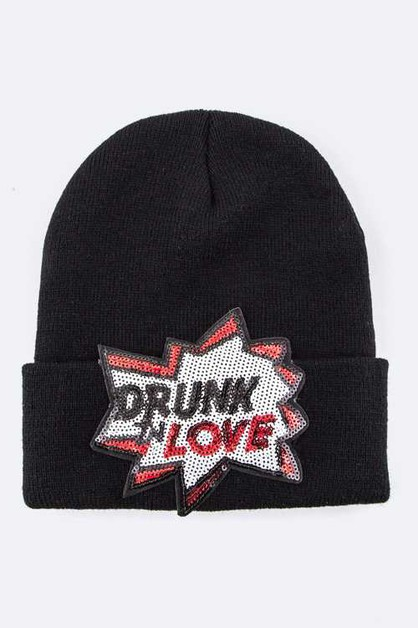 Sequins Drunkn Love Beanie Hat - orangeshine.com
