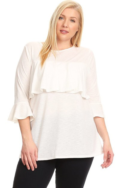 PLUS SIZE 3-QTR SLEEVE RUFFLE TOP - orangeshine.com