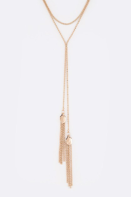 Fringe Ball Chain Necklace - orangeshine.com