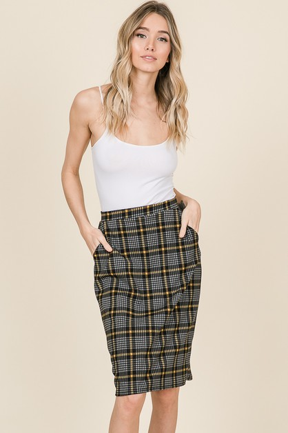 PLAID RELAXED ELASTIC WAIST SKIRT - orangeshine.com