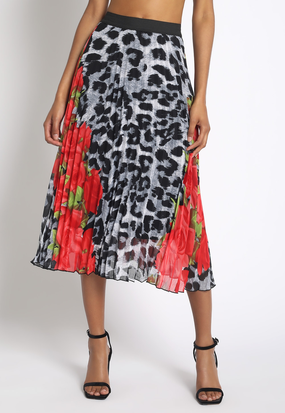 FLORAL LEOPARD PLEATED MIDI SKIRT - orangeshine.com