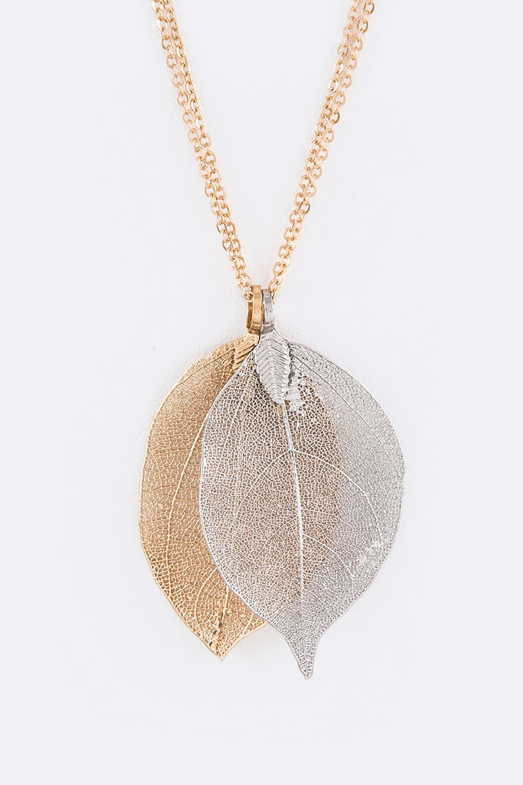 2 Tone Dipped Leafs Iconic Necklace - orangeshine.com