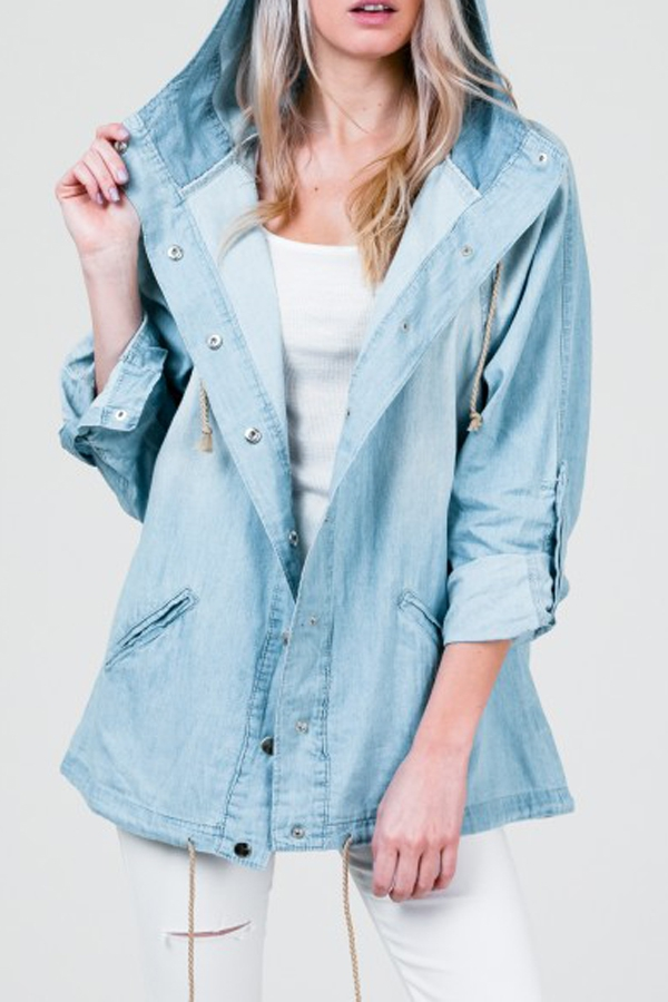 LONG SLEEVE BUTTONED DENIM JACKET - orangeshine.com