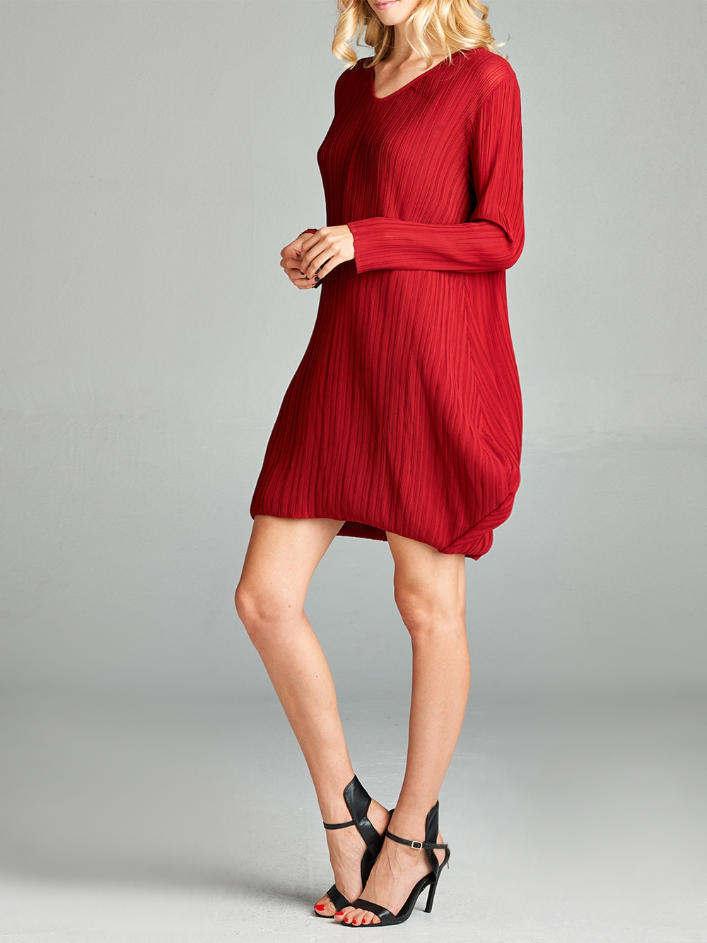 Pleated Red Raya  Dress - orangeshine.com