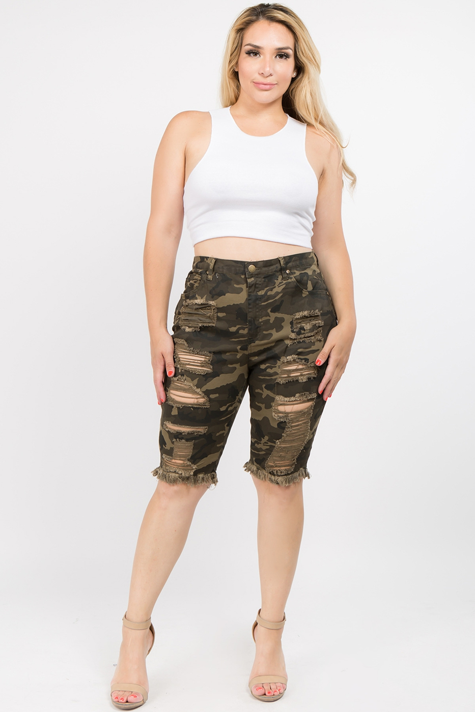 PLUS SIZE DESTROYED DENIM BERMUDA - orangeshine.com
