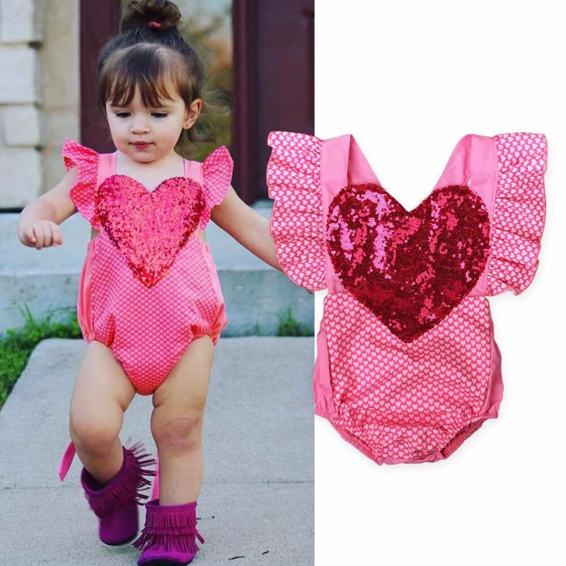 Sequin Heart Romper - orangeshine.com