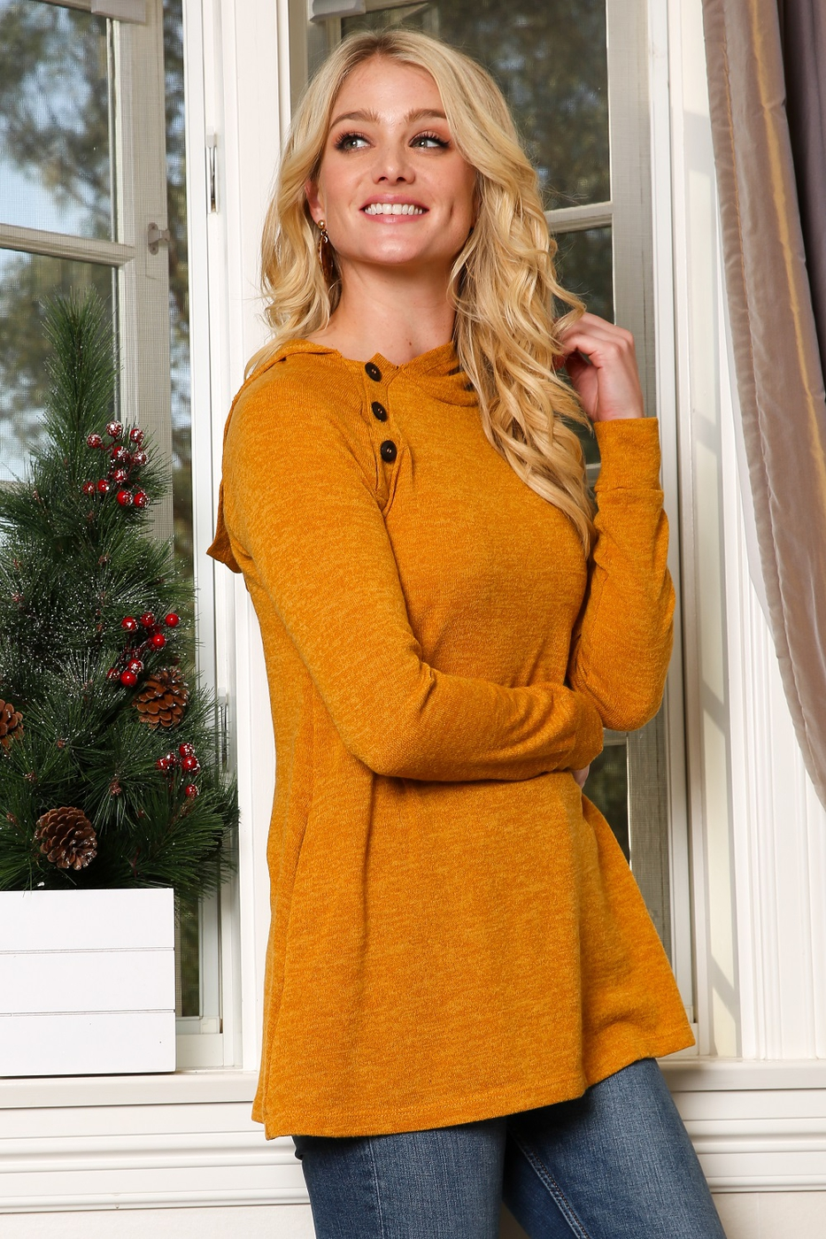 Neck Button Tunic With Hood - orangeshine.com