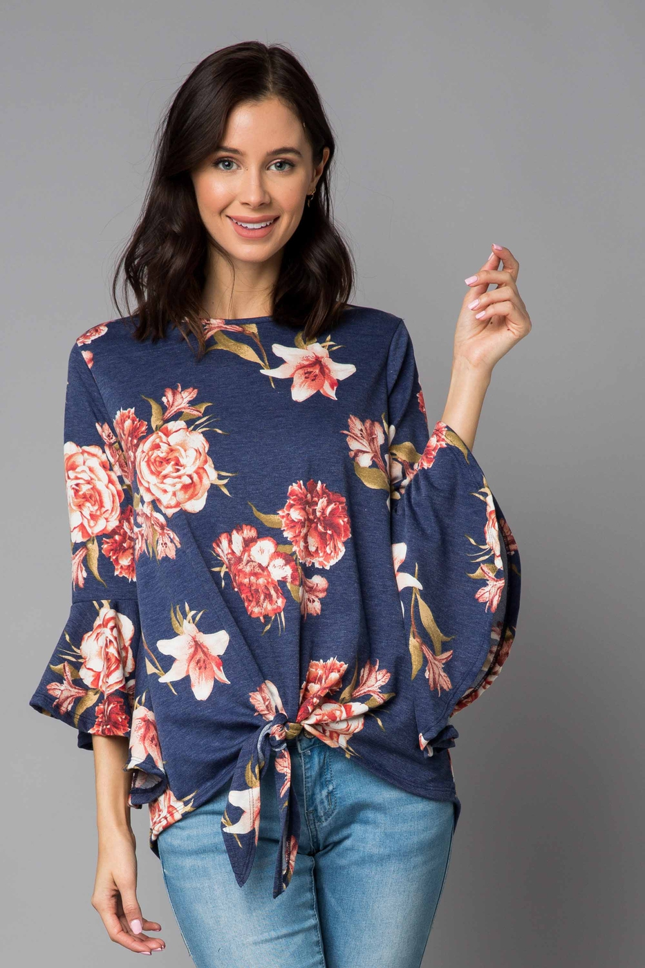 Floral Bell Sleeve Tie Front Top - orangeshine.com