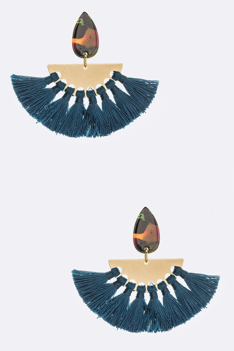 Celluloid Teardrop Tassel Earrings - orangeshine.com