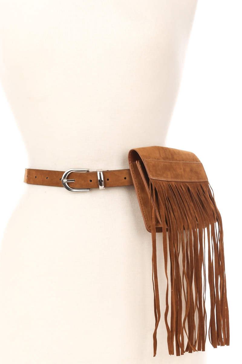 Fringe Pouch Faux Leather Belt - orangeshine.com