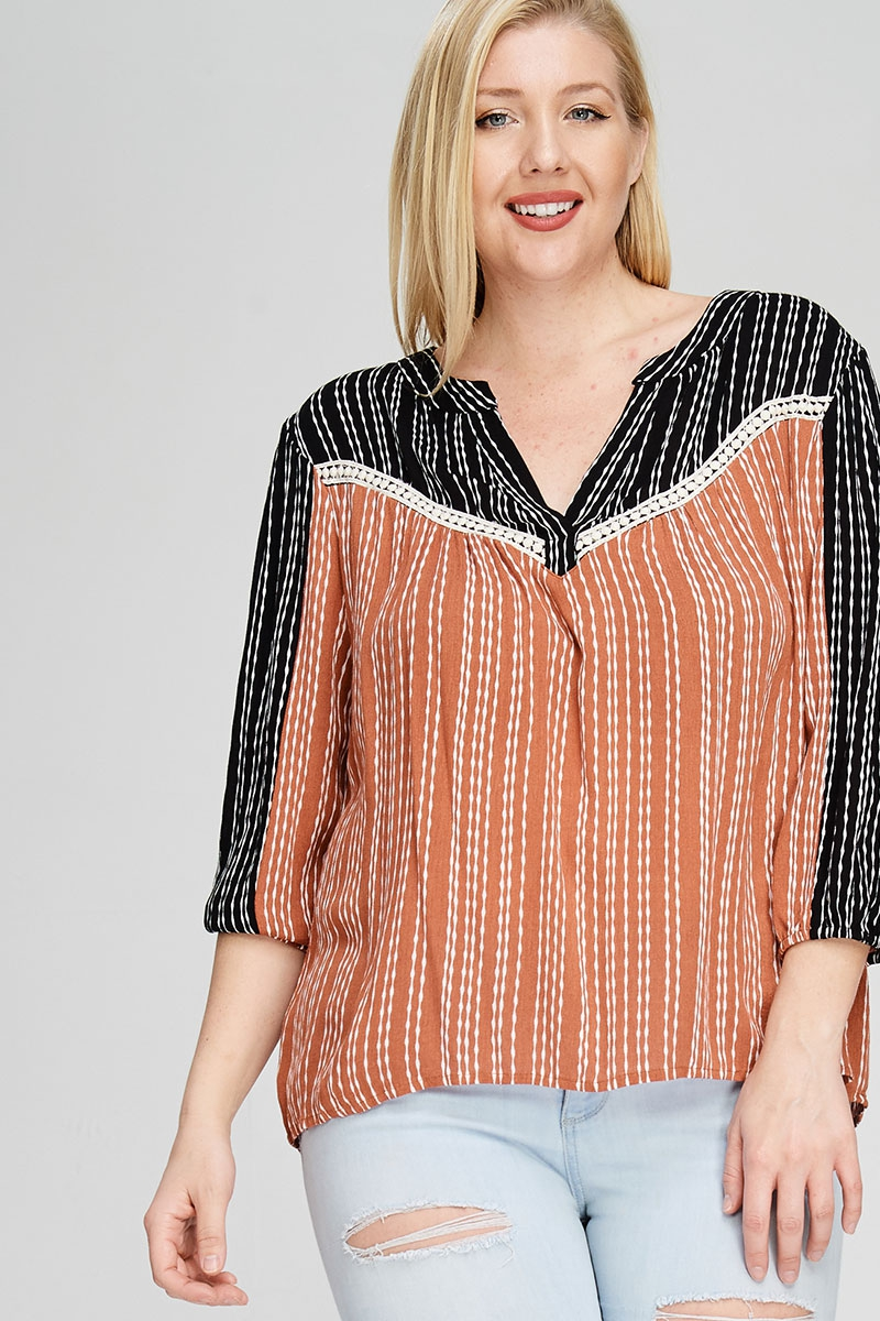V NECK TOP CONTRAST STRIPED - orangeshine.com
