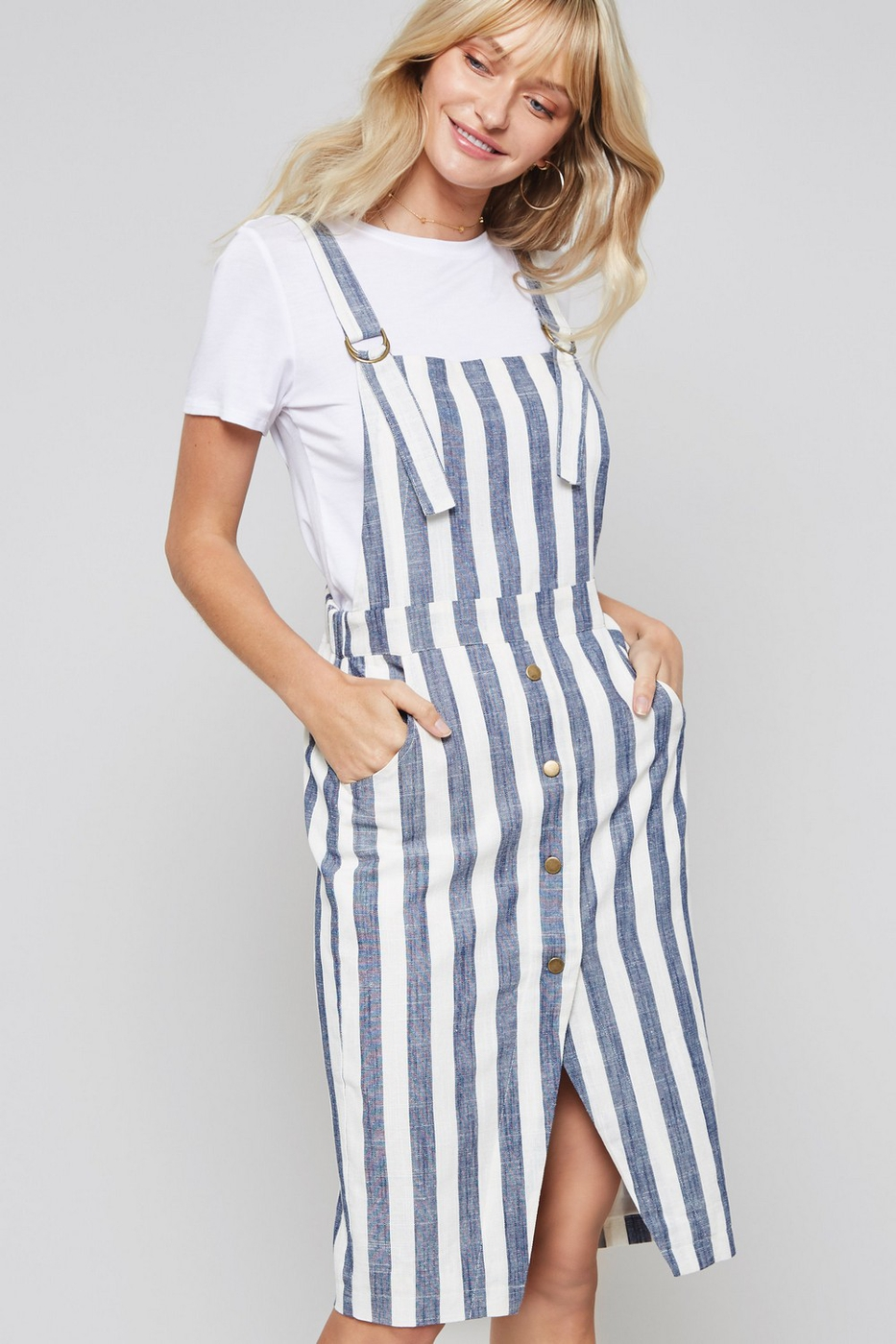 Striped Overall Dress with Pockets - orangeshine.com