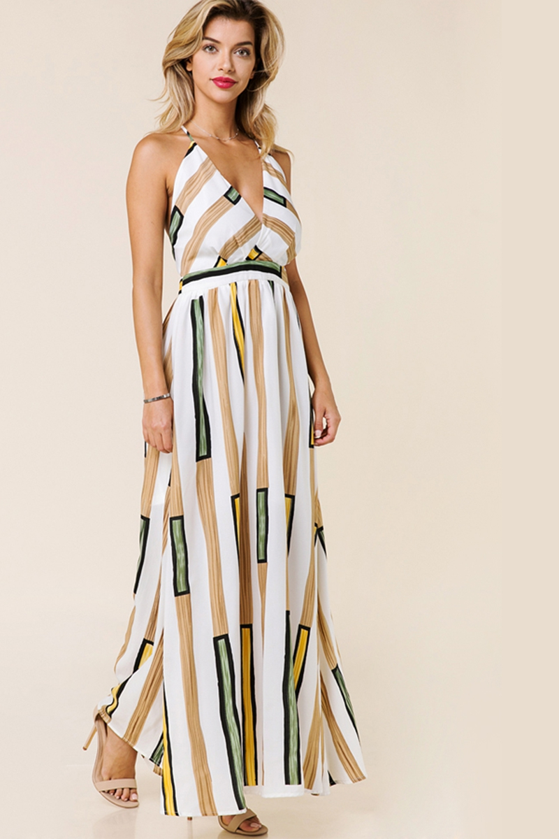 CAMI PRINTED MAXI DRESS - orangeshine.com