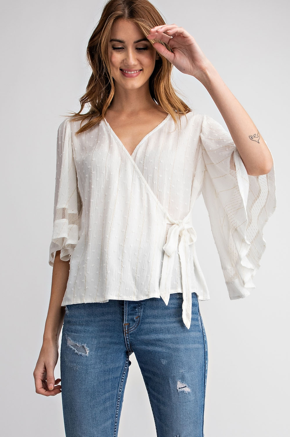 DOUBLE LUREX  FLUTTER SLEEVE TOP - orangeshine.com