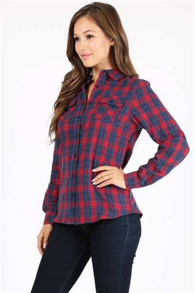 Women Cotton Plaid Shirts - orangeshine.com
