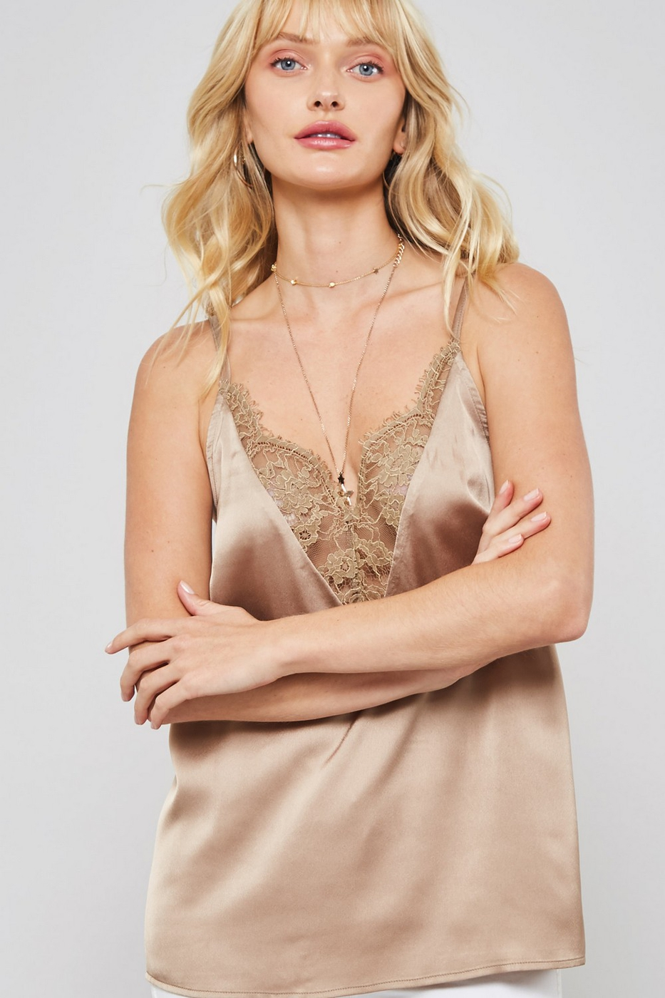 Lace-Trimmed Satin V-Neck Camisole - orangeshine.com
