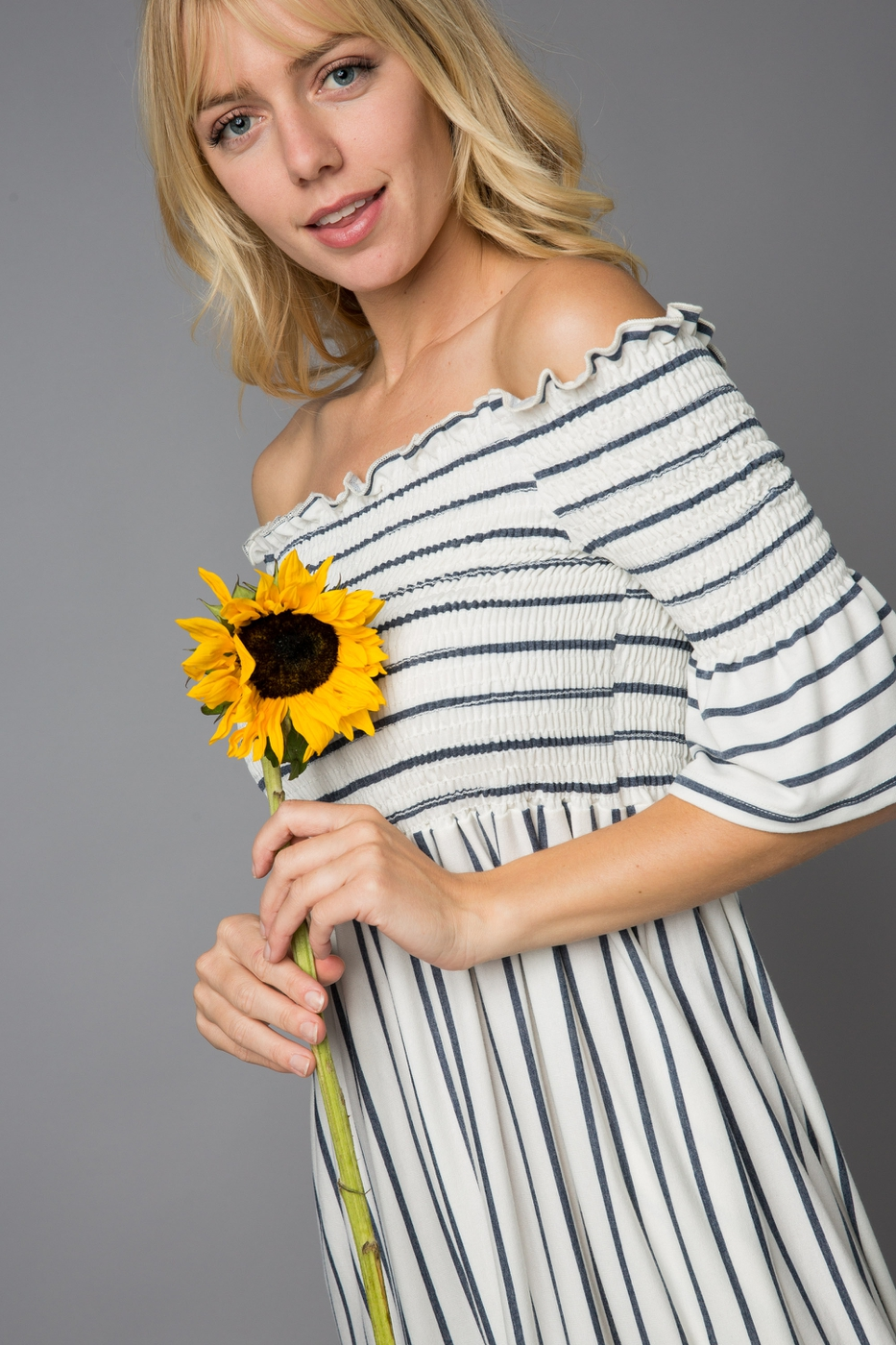 Striped Off Shoulder Ruffle Dress - orangeshine.com