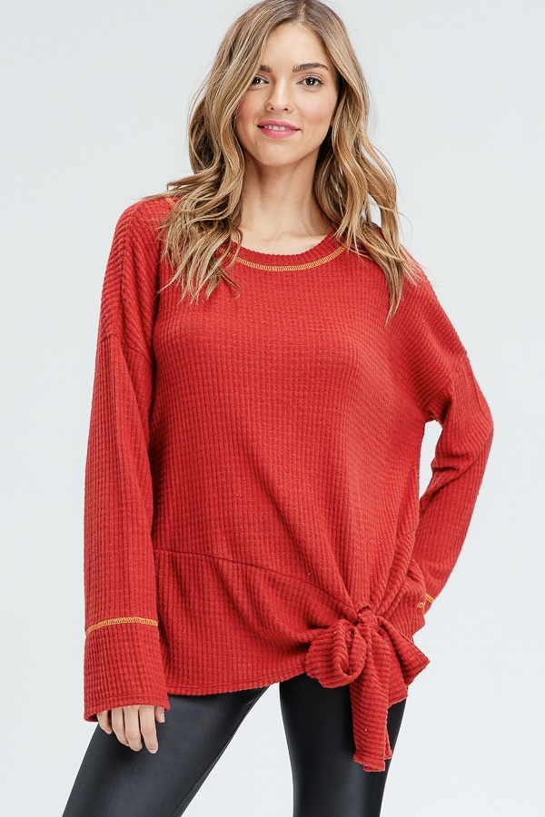 Front Self Tie Thermal Knit Top  - orangeshine.com