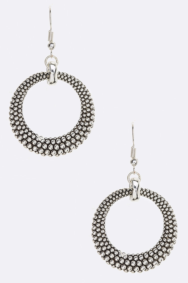 Textured Metal Drop Earrings - orangeshine.com