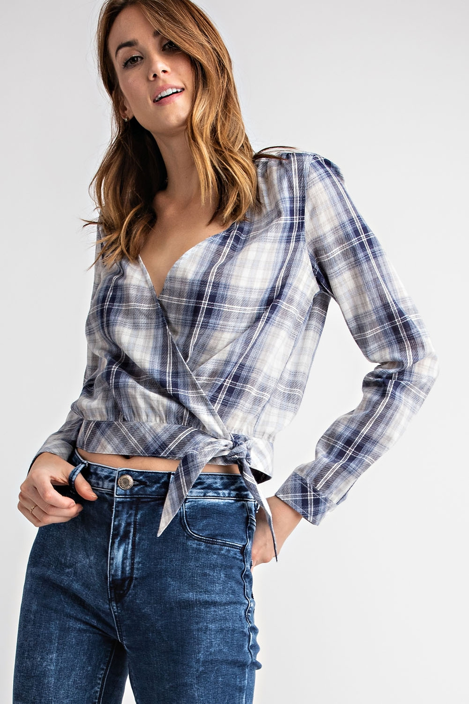 SIDE TIE PLAID LONG SLEEVE WRAP TOP - orangeshine.com