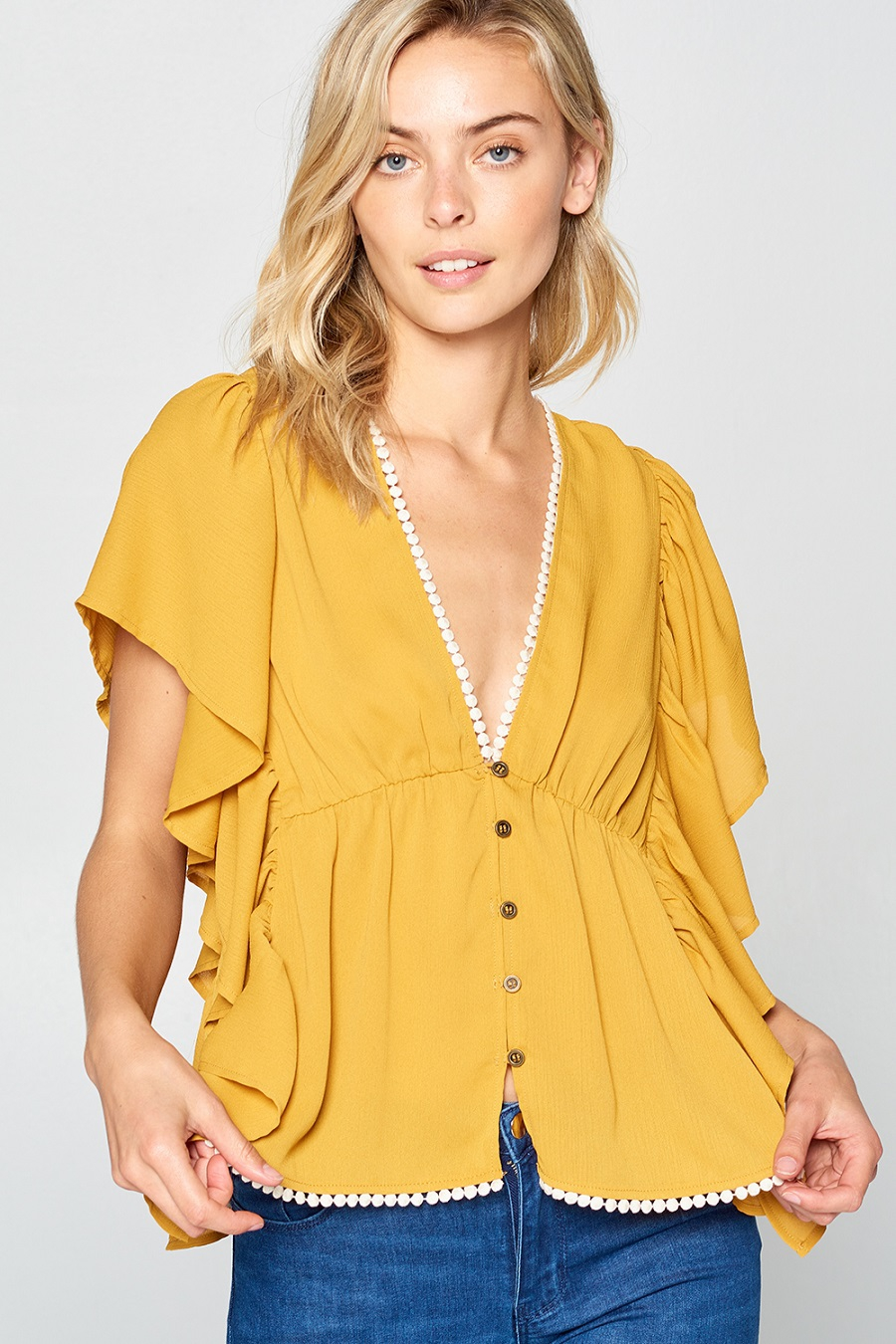 Solid V Neck Butterfly Sleeve Top - orangeshine.com