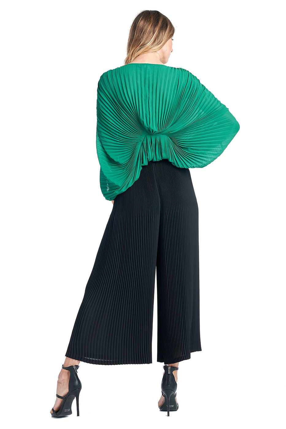 Pleated Wide leg Black Pants  - orangeshine.com