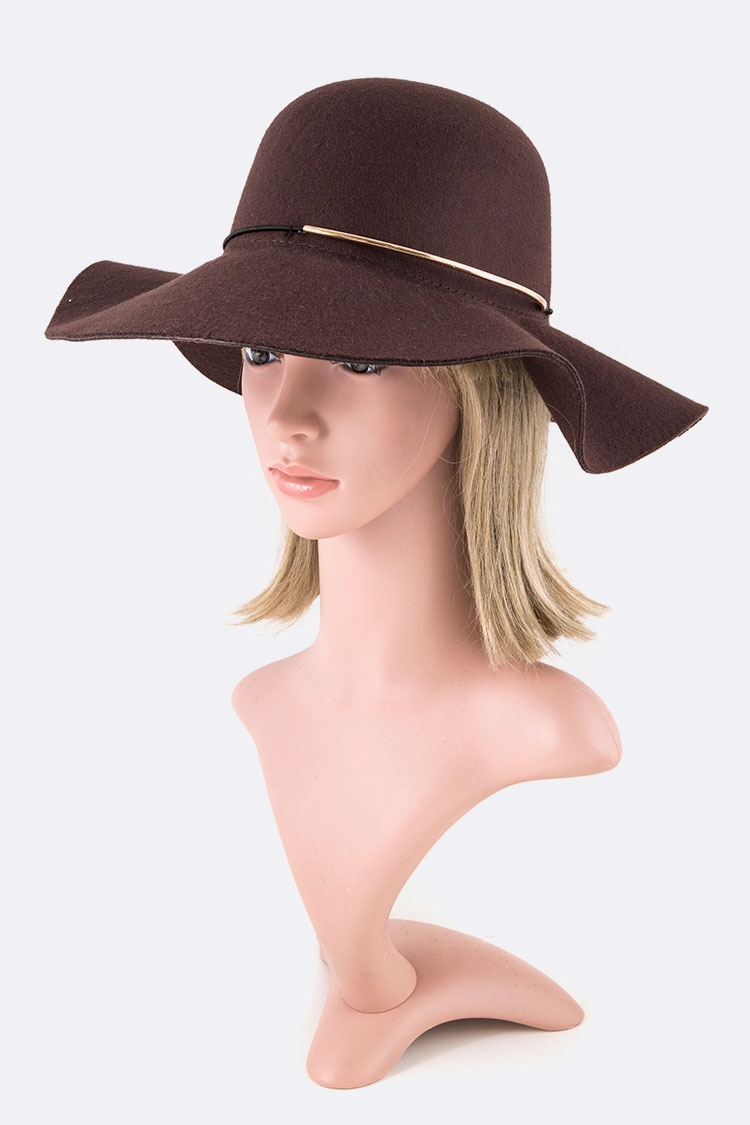 Gold Bar Accent Felt Floppy Hat - orangeshine.com