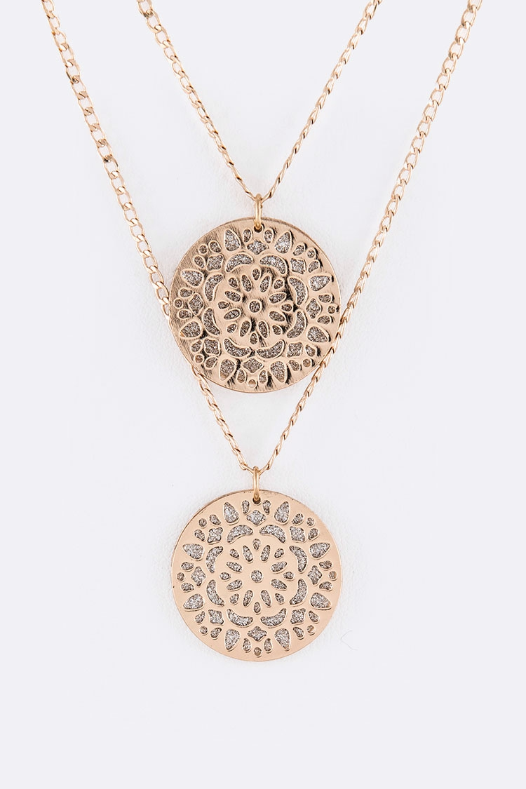 Glittered Filigree Plate Pendant - orangeshine.com
