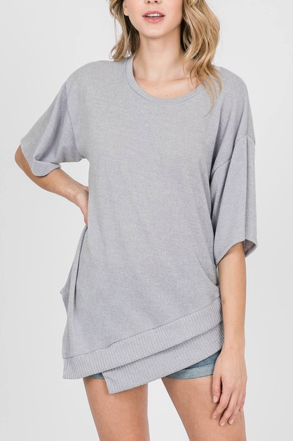 UNBALANCE SOLID KNIT TOP - orangeshine.com