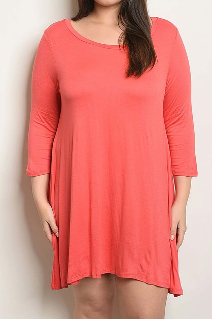 ROUND NECK LOOSE FIT PLUS DRESS  - orangeshine.com